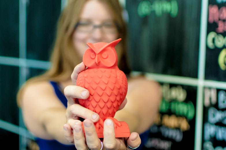 This plastic owl was created on one of Hacker Lab's 3-D printers. The model for the owl file can be found on Thingiverse.   (photo: Pero Petricevic, Hacker Lab)