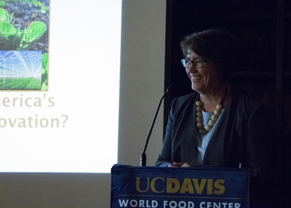Josette Lewis, associate director of the UC Davis World Food Center, presents during a special event in May.(Photo courtesy Brad Hooker/UC Davis)