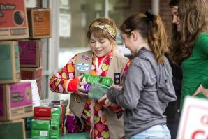 Claire Simon sells Girl Scout cookies