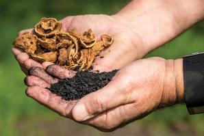 Walnut shells are turned into biochar at Dixon Ridge Farms.