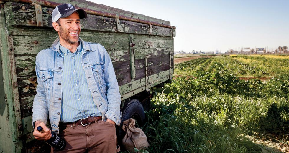 J-E Paino at his hops farm, Ruhstaller Farm + Yard, outside Dixon in Solano County.