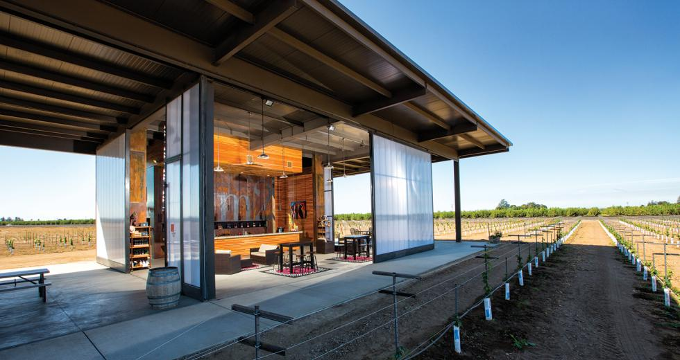 Designed by John Vierra, m2 Vintner's new indoor/outdoor structure offers patrons the chance to relish the flavors of wine and views of the vineyard simultaneously.