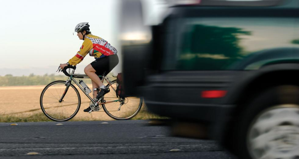 This UC Davis employee rides her bike on County Road 102 nearly every morning from her home in Woodland.