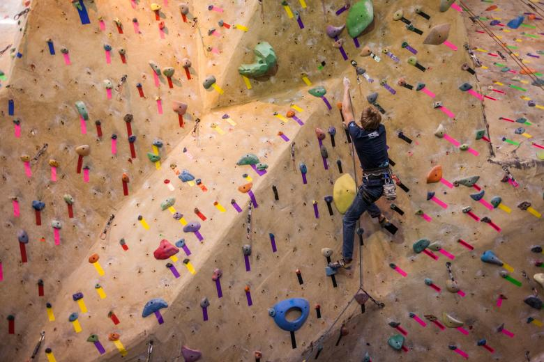 The Pipeworks gym on North 16th Street offers climbers more than 100 ever-changing routes. Everyday, the gym's full-time team of routesetters changes a handful of paths, meticulously piecing together a massive puzzle of hand and foot holds.