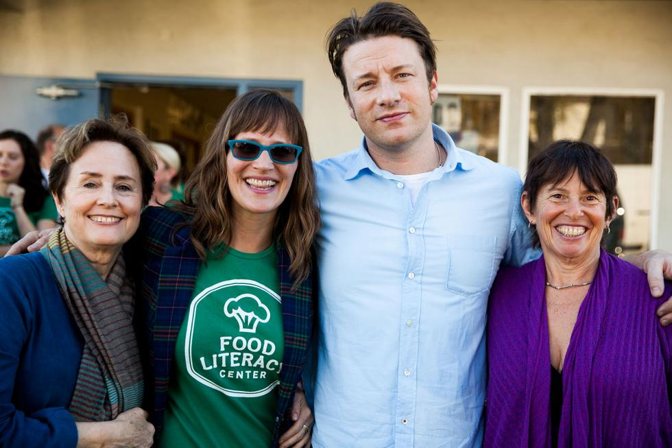 right to left: Alice Waters, Amber Stott, Jamie Oliver and Ann Cooper