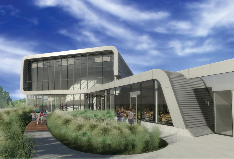 At the planned Powerhouse Science Center, by Dreyfuss & Blackford, the new Earth & Space Sciences Center will connect to the 1912 Willis Polk-designed power station. Courtesy of Dreyfuss & Blackford Architects.