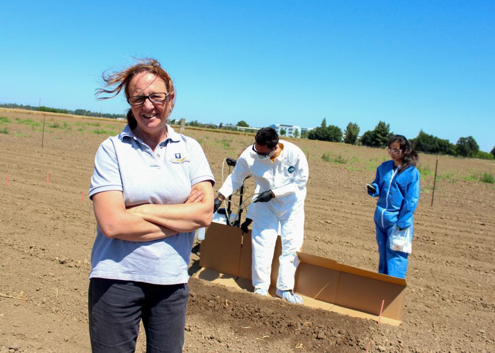 Dr. Michele Jay-Russell oversees a raw manure experiment at UC Davis.