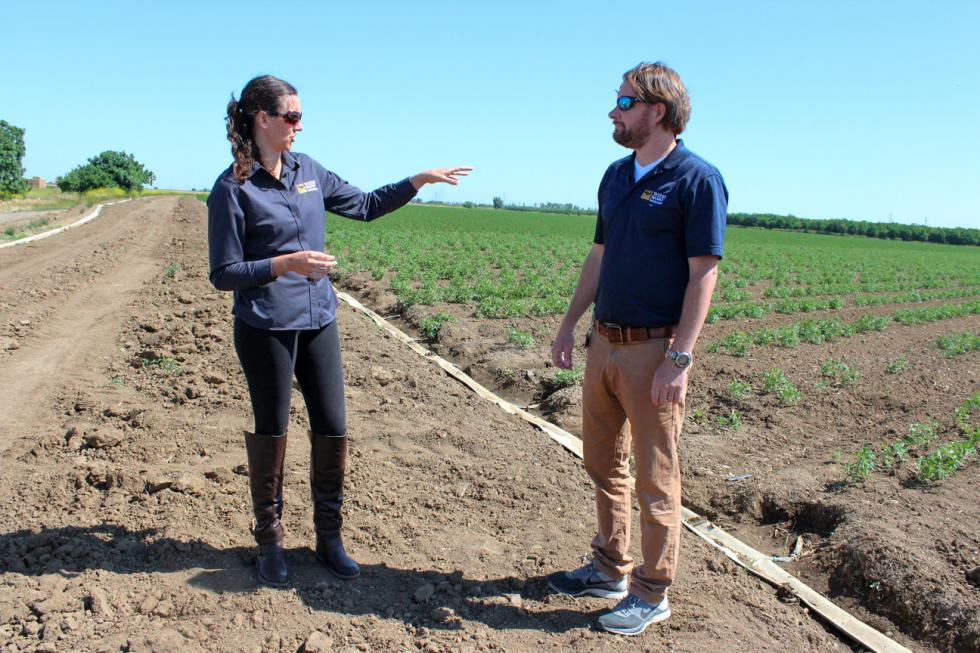 UC Davis researchers Melissa Partyka (left) and Ronald Bond study the food-safety implications of sediment basins.