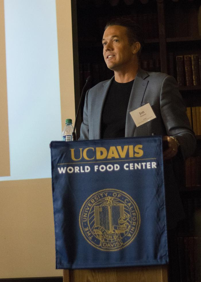 Jon Sebastiani, founder of food incubator Sonoma Brands, gives his keynote speech during a panel hosted by the UC Davis World Food Center. (Photo courtesy Brad Hooker/UC Davis)