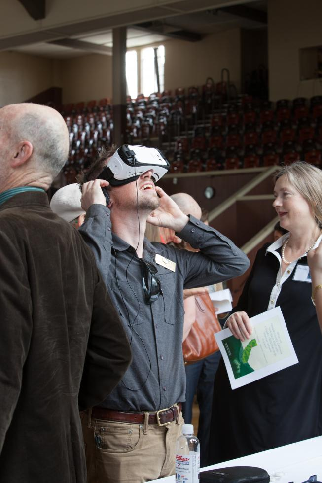 An attendee of the Nevada County Economic Resource Council summit in April checks out virtual reality. NCERC is a tenant of the new Green Screen Institute. (Photo courtesy Winding Road Imagery)