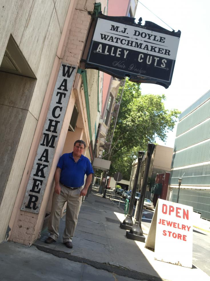 Michael J. Doyle operates out of his shop, M.J. Doyle - Watchmaker, in downtown Sacramento