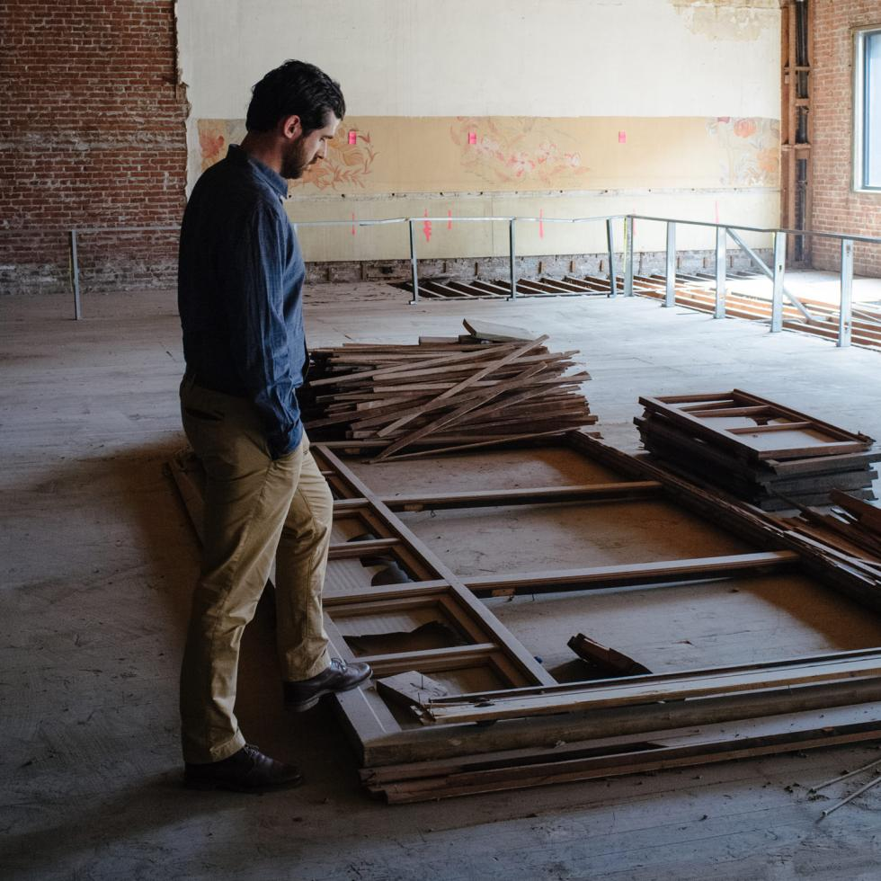 Tim Ekgan inside downtown Stockton's historic Newberry building in October 2014.