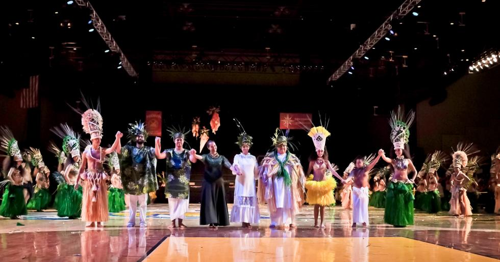 Yolanda Amen (fourth from the left) along with family and dancers at the 2015 Tahiti Fete dance competition in San Jose.