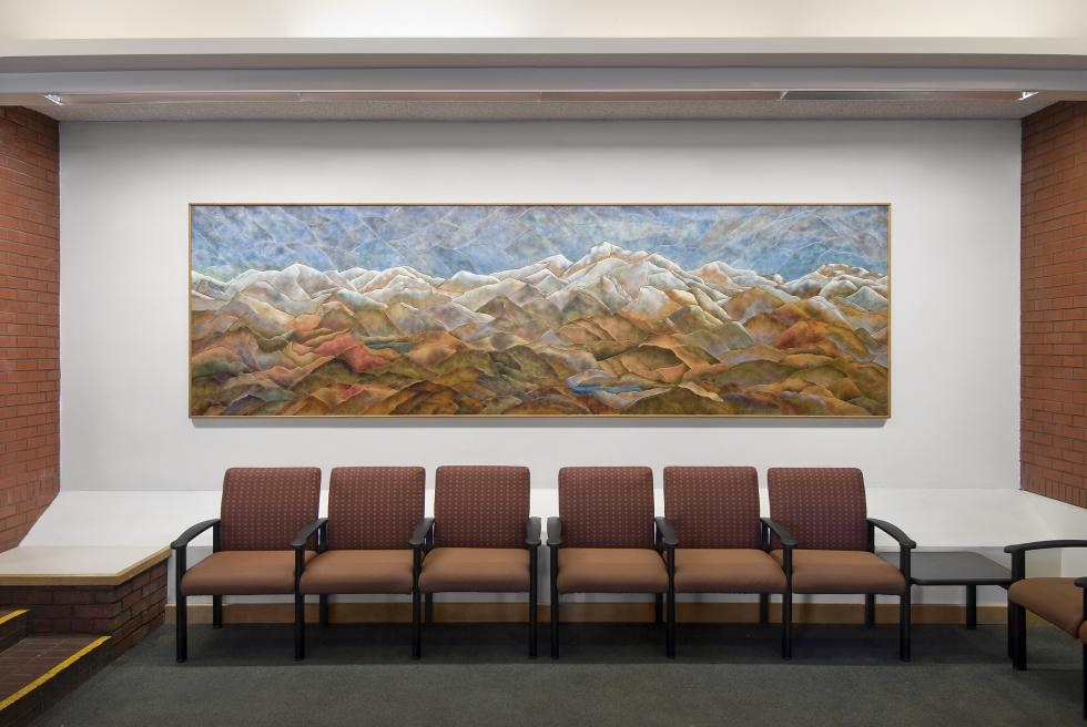 Large enamel piece in the University Tower lobby at the UC Davis Med Center. 