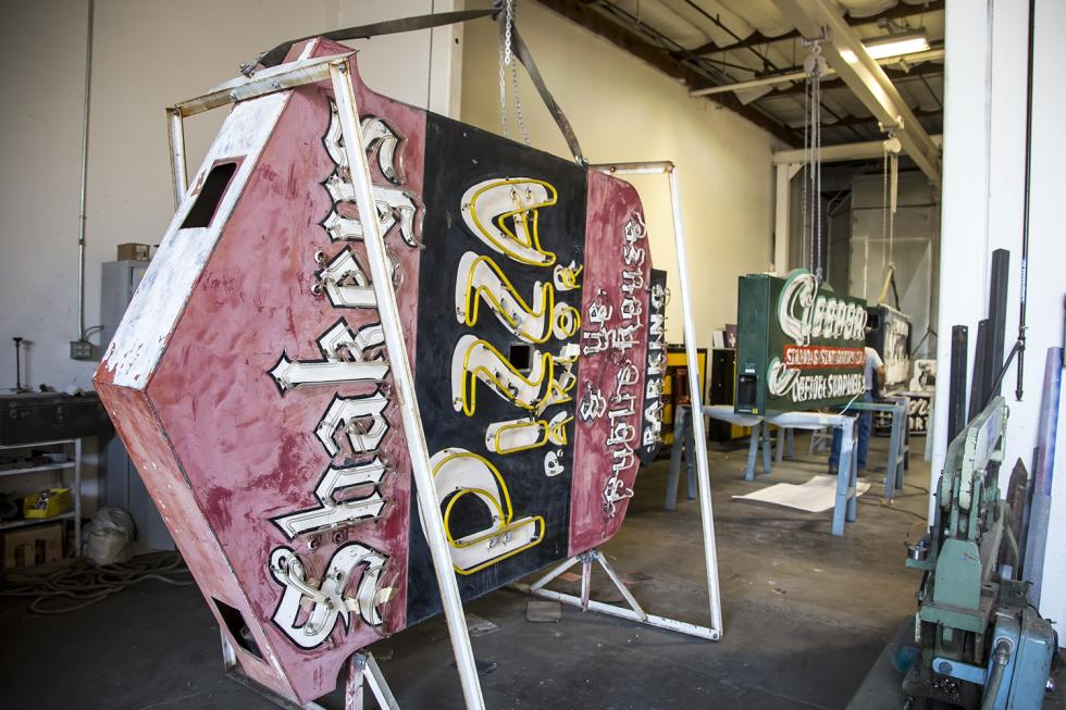 The original Shakey's Pizza Parlor sign awaits refurbishment before it can be hung in the Golden 1 Center. (Photos by Joan Cusick)