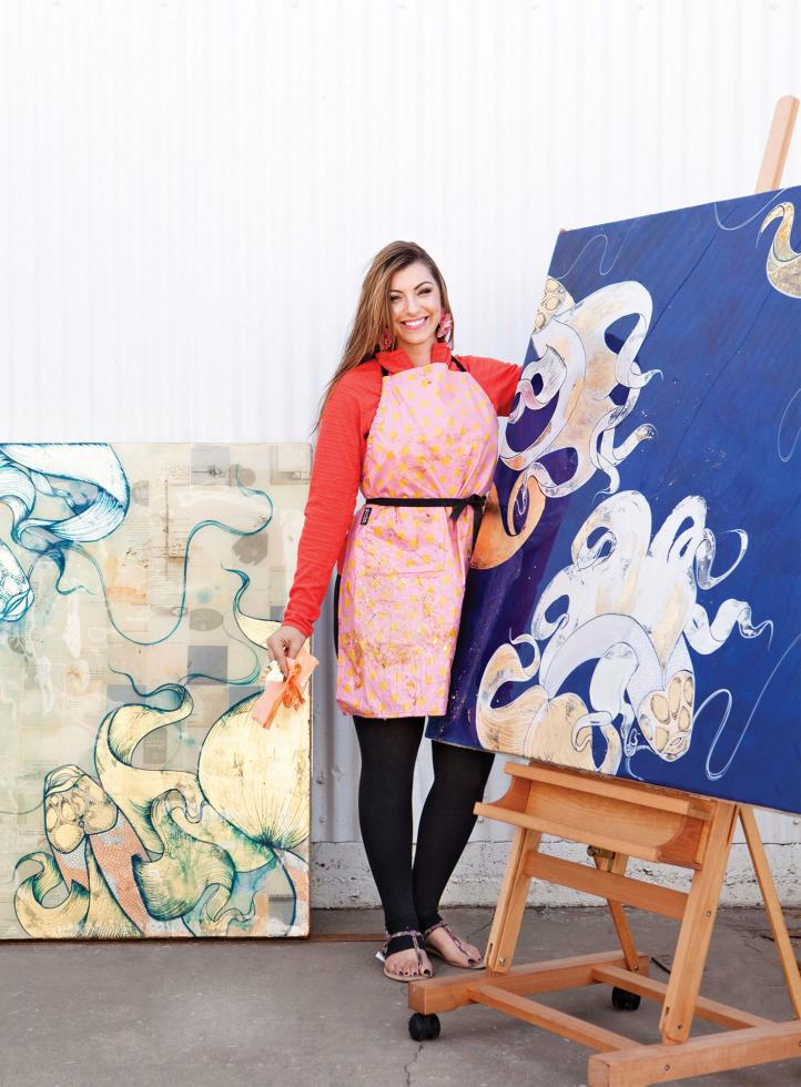 Maren Conrad's oil paintings were the inspiration for her 2014 linen line.