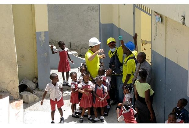 Miyamoto employees in Haiti in 2010. A total of 400,000 structures were assessed and over 10,000 were repaired.