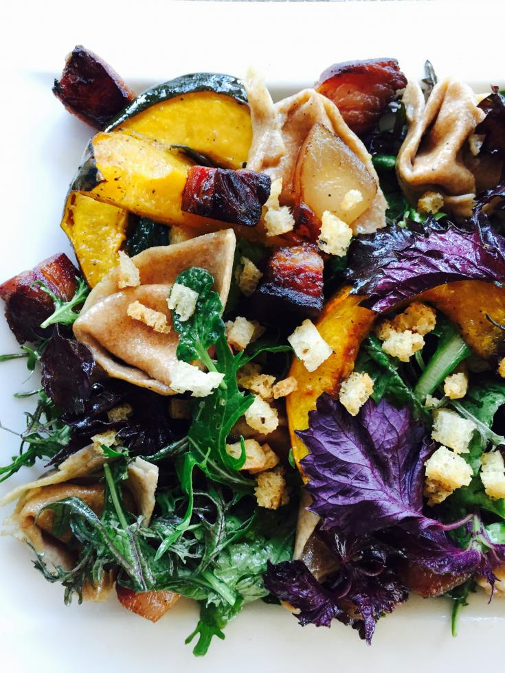 Close-up of autumn squash panzanella by Chef Bret Bohlmann of Boulevard Bistro.