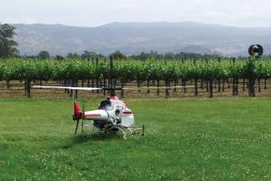 Engineers at UC Davis are using the Yamaha R-Max mini chopper to gather agricultural data and precisely fertilize crops.   (photo by Ken Giles, UC Davis)