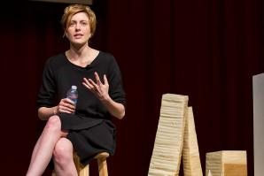 Greta Gerwig delivering her keynote speech at the annual Metro Edge Emerge Summit on March 18.