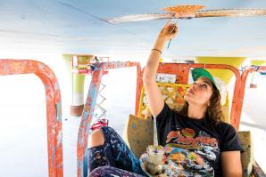 When Bright Underbelly is completed, Sofia Lacin will have spent about 315 hours painting the expansive mural.