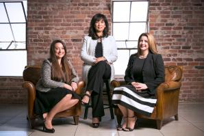 From left: Rayna Pearson, Myla Ramos and Heather Kocina cofounded SearchPros Solutions in Sacramento in 2005. (Photography courtesy of SearchPros Solutions)