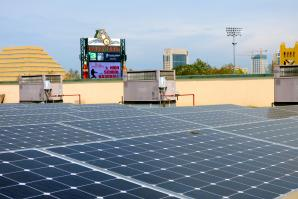 The River Cats have reduced Raley Field's carbon footprint with a 154-kilowatt solar array. (Photo courtesy of the River Cats)