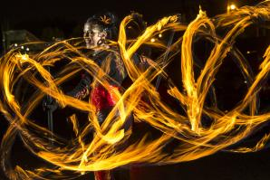 For most of her youth, Sequoia Criteser (pictured above) was petrified of fire. As a child, she would not have imagined starting a career as a fire dancer 13 years ago. She first tried the artform down by the American River, when another dancer handed her the equipment to try fire poi, a style of performance art that usually involves swinging tethered, fiery weights around in rhythmic and geometric formations.