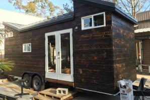 Chris Silva's tiny home during construction. The siding and roof are completely done.