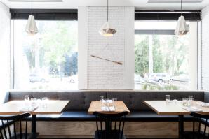 Schmitt Design's Aspect Pendants are installed at Hock Farm in downtown Sacramento. (Photo by Kat Alves)