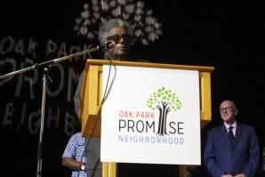 Long-time Oak Park resident Norman Blackwell Sr. speaks during the Oak Park Promise kickoff event at the Guild Theater in July. (Photo courtesy Maria Christie)