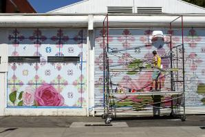 By mid-week, artist David Fiveash has made significant progress on his mural at 1025 R St. in Sacramento.