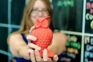 This plastic owl was created on one of Hacker Lab's 3-D printers. The model for the owl file can be found on Thingiverse. 