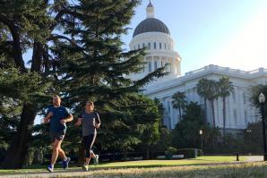 Jenn Kistler-McCoy goes for a run by the California State Capitol. (Photo courtesy Jenn Kistler-McCoy)