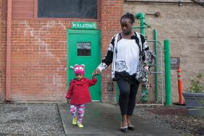 Following breakfast at Maryhouse, Lanisha Jean and her daughter Khloe will spend the day at Women's Empowerment where Lanisha, a graduate of the program, will use the computers to job hunt before returning to the VOA shelter where they sleep.