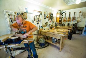 Waylin Carpenter has been building custom, classical guitars in his home workshop in Sacramento since 2000. Carpenter makes 5-, 6- and 7-string guitars, and each can take 150 to 200 hours to complete.