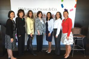 Senior leaders at JPMorgan Chase after a Women on the Move career seminar led by Dalila Wilson-Scott, head of Global Philanthropy and president of the JPMorgan Chase Foundation (third from right).
