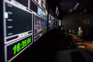 It's nearly go time, and the five monitors in the control room at Sacramento's KCRA-TV are about to be filled with more than 80 different video and audio sources from satellite feeds, traffic cameras, helicopters, live trucks and a half-dozen reporters.