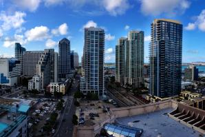 Panoramic view from a high rise condo balcony in the Little Italy area of San Diego.
