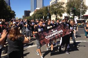 Fans and players rally in downtown Sacramento after the Sacramento Republic FC won its championship game against the Harrisburg City Islanders on Sept. 27