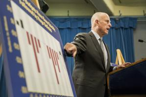 Gov. Jerry Brown announcing the 2015-2016 fiscal year budget proposal at the State Capitol last May