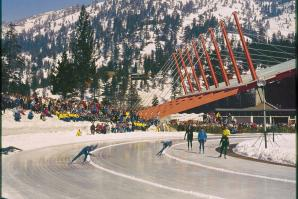 Speed skaters at Squaw Valley during the 1960 Olympics